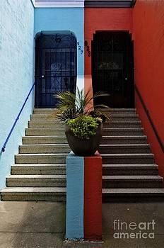Sherry Davis - Orange - Blue with Plant Between