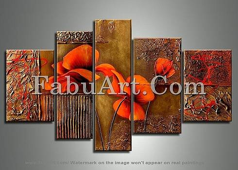 Orange Brown Flower Painting 141 - 62 x 36in by FabuArt