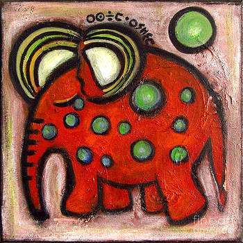 Orange elephant with green bubbles by Rosemary Lim