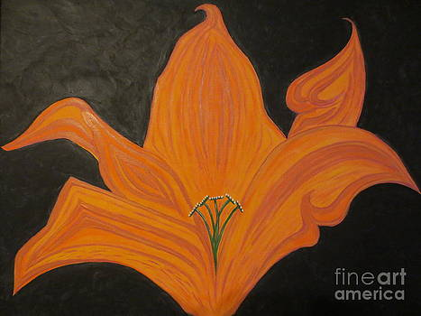 Orange Lily with Gold Paint by Sandra Spincola