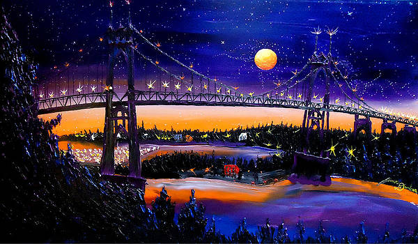 Orange Moon Of St. Johns Bridge by Portland Art Creations
