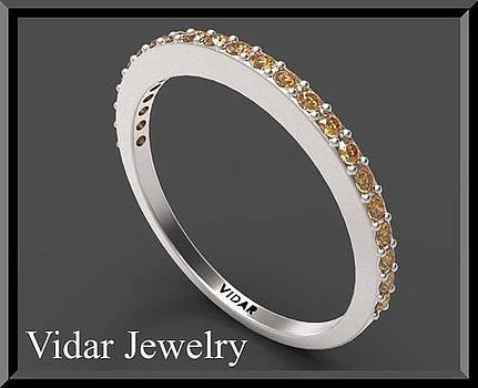 Orange Sapphire Half Eternity 14k White Gold Woman Wedding Ring by Roi Avidar