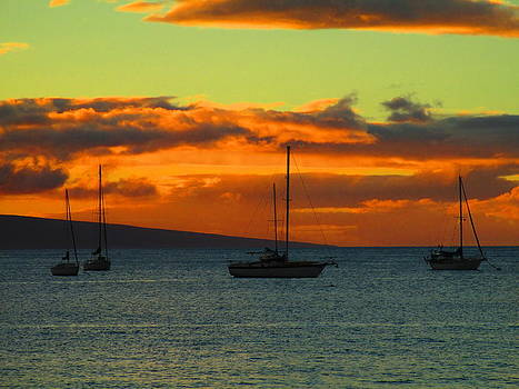 Orange Sky and Sailboats by Elaine Haakenson