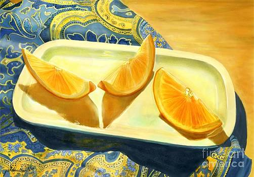 Oranges on Blue Paisley by Joan A Hamilton