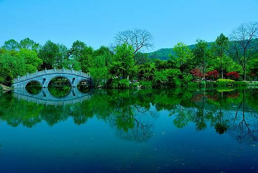 Oriental Bridge Over West Lake by Larry Moloney