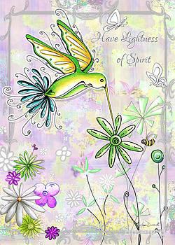 Original Inspirational Uplifting Hummingbird Floral Painting Art Quote Design by Megan Duncanson by Megan Duncanson