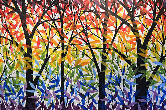 Original Modern Rainbow Trees Painting ... Spectrum of Trees by Amy Giacomelli