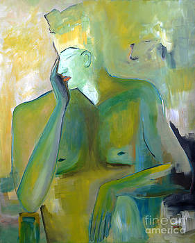 Original Painting Green Figurative Man Portrait Abstract Unique Decorative Abstract Art Reproduction by Marie Christine Belkadi