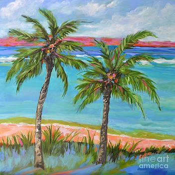 ORIGINAL PAINTING Palm Tree Beach by Karen Fields
