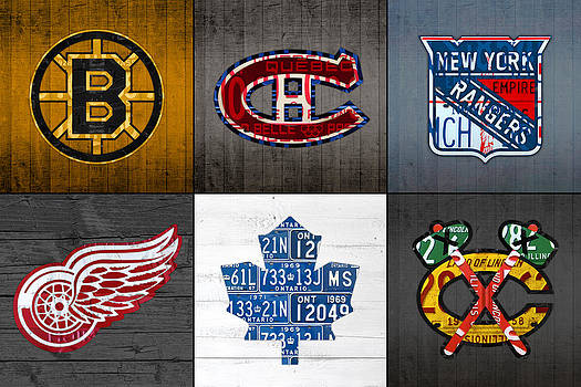 Original Six Hockey Team Retro Logo Vintage Recycled License Plate Art by Design Turnpike