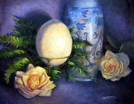 Ostrich Egg and Roses by Sharen AK Harris