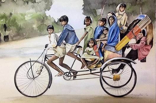 Overloaded Rikshaw by Shagufta Mehdi
