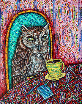 Owl at the Cafe by Jay  Schmetz