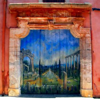 Painted door in Roussillon by Manuela Constantin
