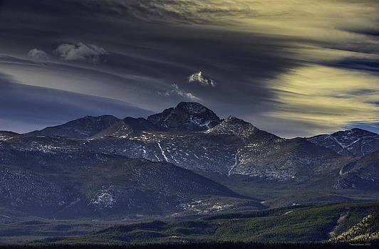 Painted Sky Over Longs Peak by Tom Wilbert