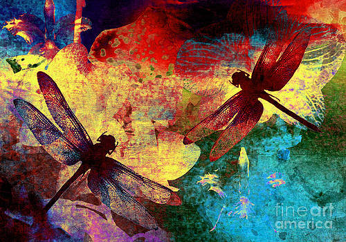 Painting Dragonflies and Flowers by Victoria Kir