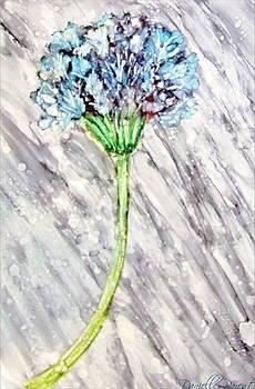 Pale Blue Queen Lace Flower Alcohol Inks by Danielle  Parent