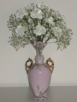 Pale Vase White Flowers by Good Taste  Art