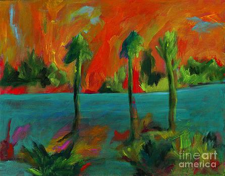 Palm Trio Sunset by Elizabeth Fontaine-Barr
