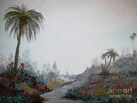 Palms in a garden by Rhonda Lee