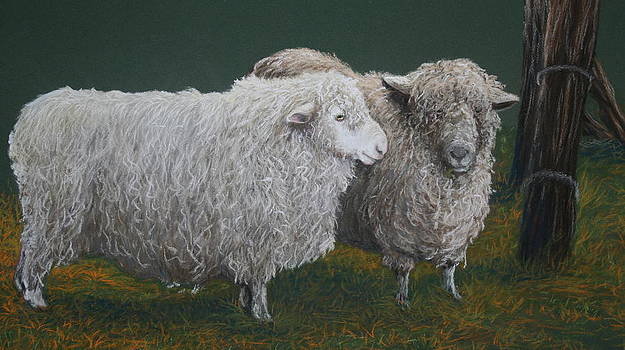 Pals in Wool Ewe and Ram by Jan Lowe
