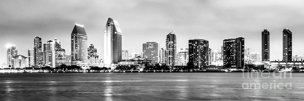 Paul Velgos - Panorama San Diego Skyline Black and White Picture