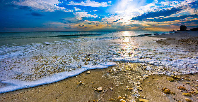 Panoramic Beach Sunset by Eszra Tanner
