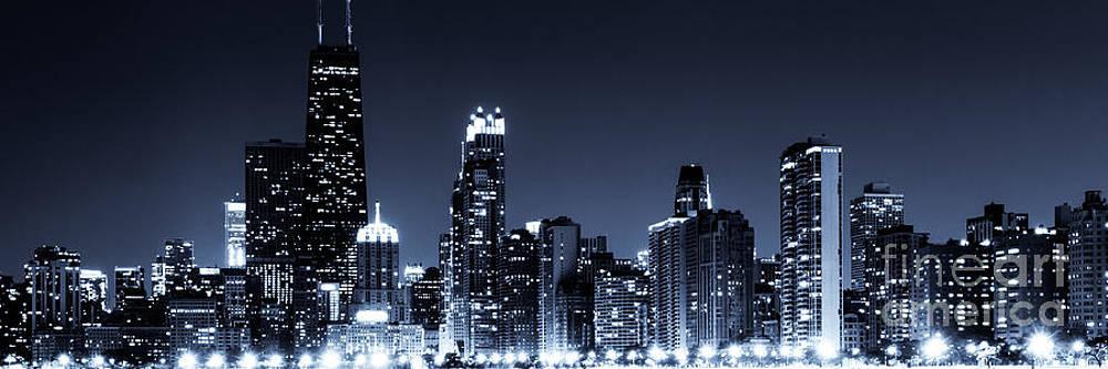 Paul Velgos - Panoramic Chicago Skyline at Night Blue Tone