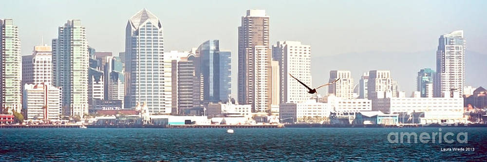 Artist and Photographer Laura Wrede - Panoramic Image of San Diego from the Harbor
