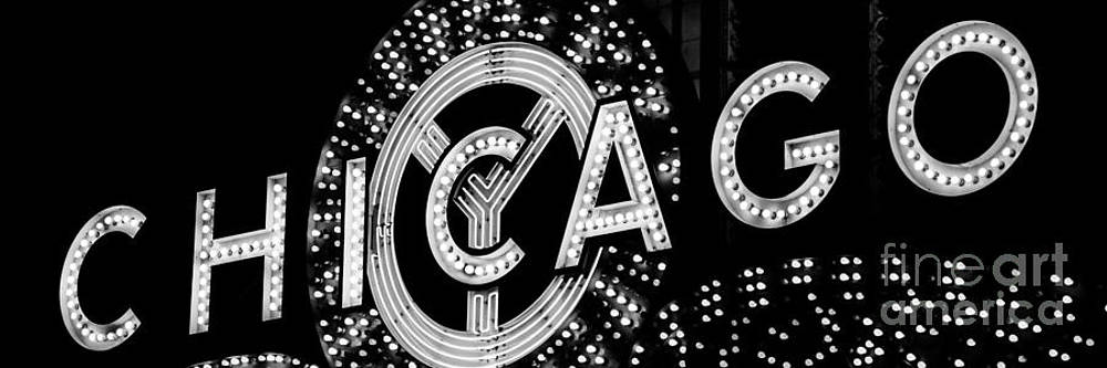 Paul Velgos - Panoramic Photo of Chicago Theatre Sign in Black and White