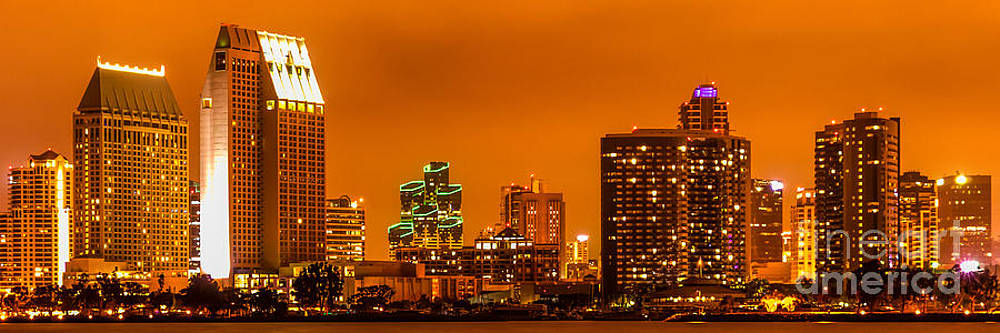 Paul Velgos - Panoramic Picture of San Diego Skyline at Night