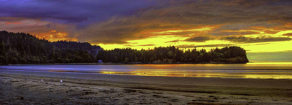 Panoramic Sunset at Crescent Beach Washington by Rod Mathis