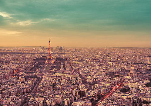 Paris - Eiffel Tower and Cityscape at Sunset by Vivienne Gucwa
