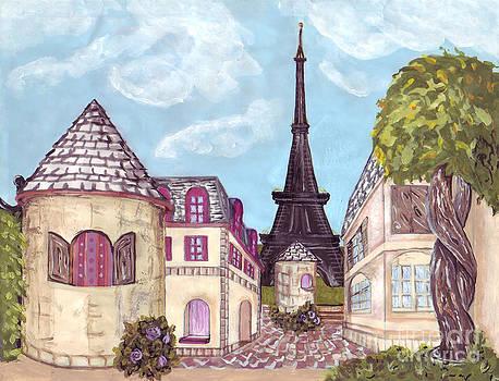 Paris Eiffel Tower inspired impressionist landscape by Kristie Hubler