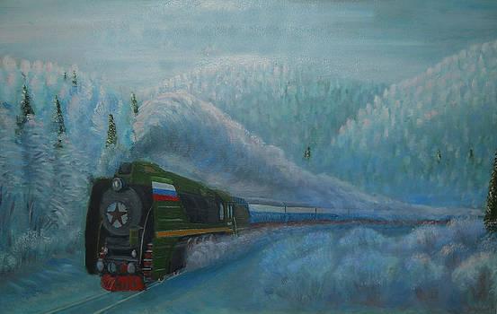 Passenger with a steam locomotive by Yurkin Vladimir