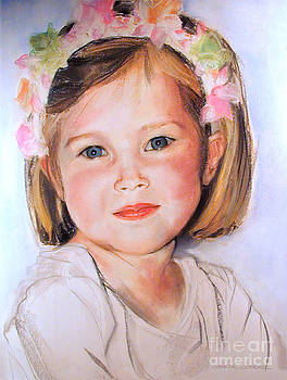 Pastel portrait of girl with flowers in her hair by Greta Corens