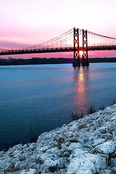 Randall Branham - Patriotic sunset thru bridge