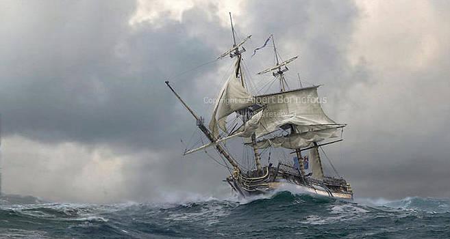 Patrolling off Bantry Bay - December 1796 by Albert Bonnefous