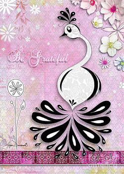 Peacock Original Painting Uplifting Inspirational Elegant Whimsical Art Be Grateful by M Duncanson by Megan Duncanson