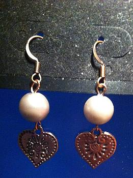 Pearl and Copper Heart Earrings by Kimberly Johnson