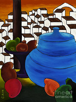 Pears And Blue Pot by William Cain