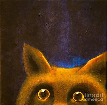 Peeking fox by Lisbet Damgaard
