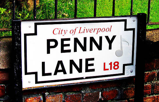 Penny Lane sign Liverpool England with musical note by Tom Conway