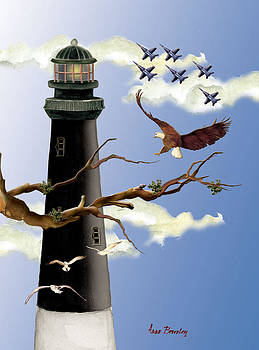 Pensacola Light House Tower by Anne Beverley-Stamps