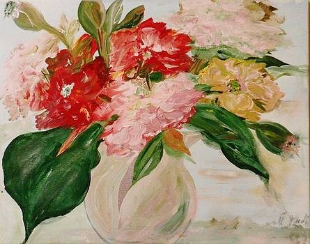 Peonies and a Snake by Marina R Vladis