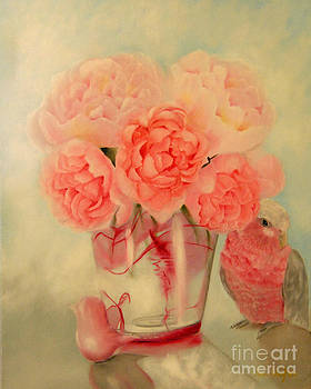 Peonies and Parrot in Pink by Mary Hughes