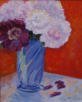 Peonies in a Blue Vase by Barbara Benedict Jones