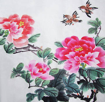 Peony with birds by Man Shurong