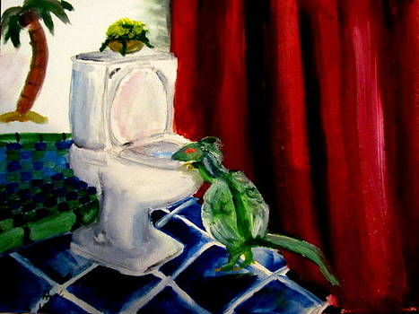 Perfect Bathroom Painting by Gina Hyde