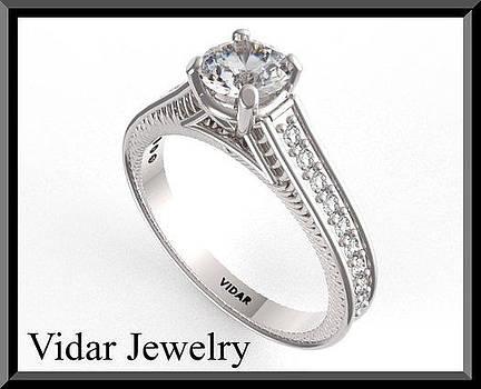 Perfect Diamond 14k White Gold Engagement Ring  by Roi Avidar